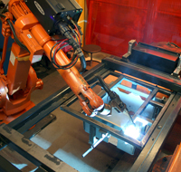 Welding of product in the robot station